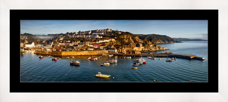 Mevagissy Harbour Panorama - Framed Print with Mount