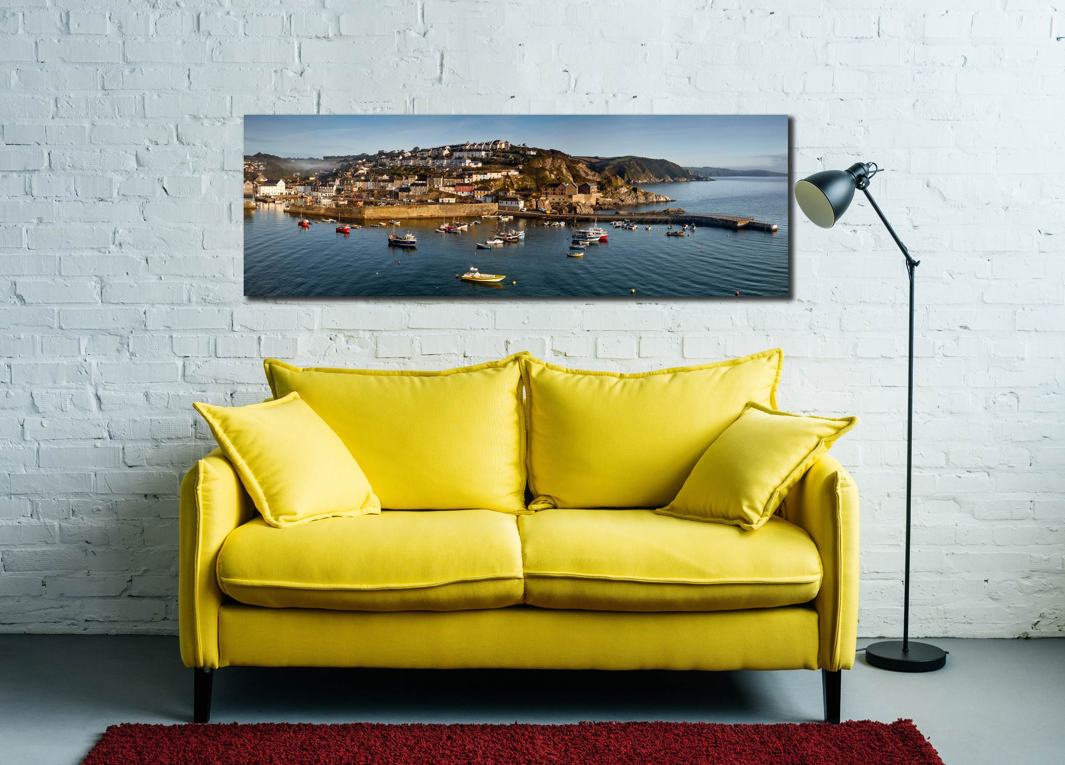Early morning at Mevagissy on the south coast of Cornwall, just after the mists have burned away, retreating up the valley - Print Aluminium Backing With Acrylic Glazing on Wall