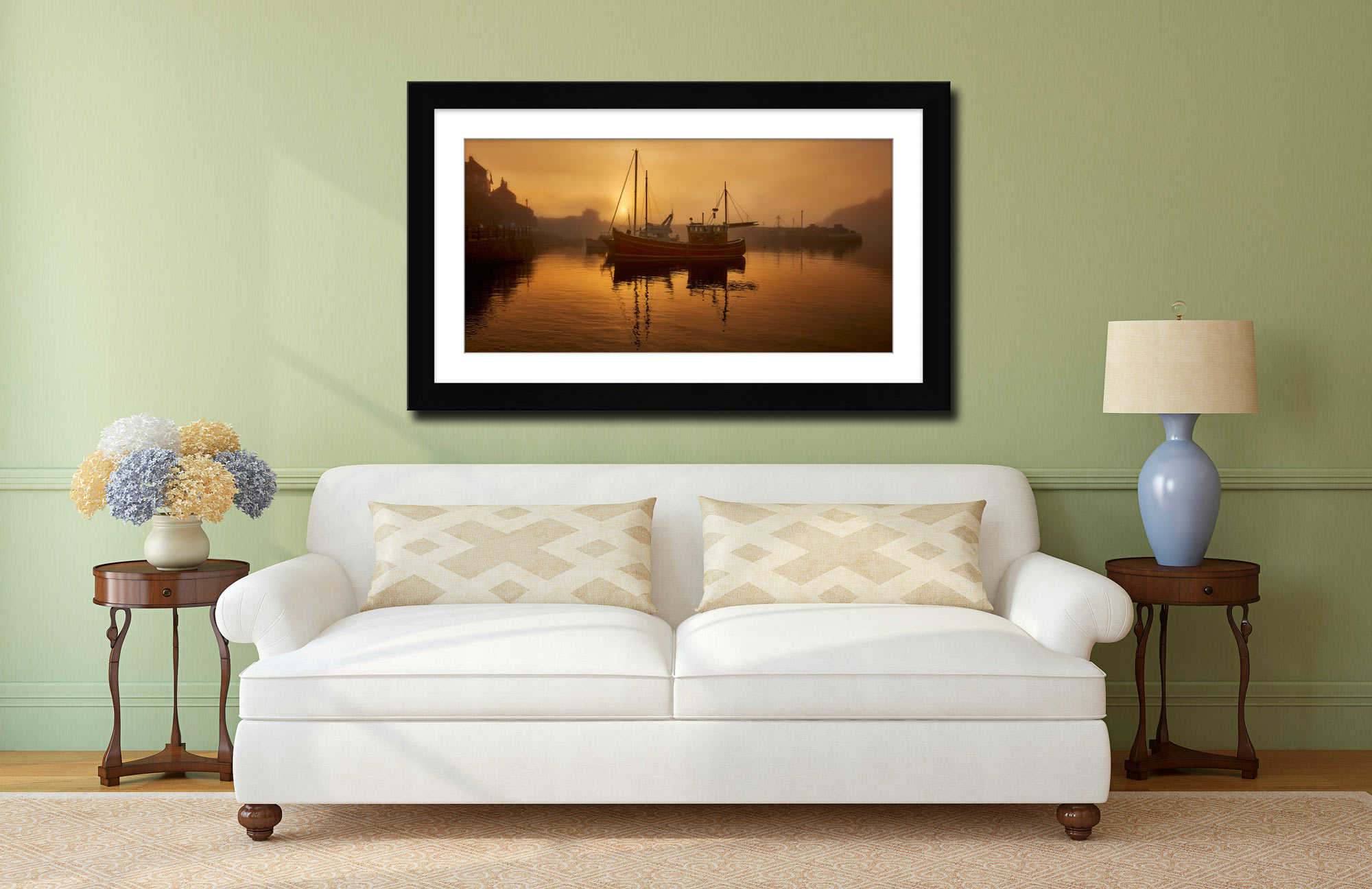 Misty Mevagissy Harbour - Framed Print with Mount on Wall