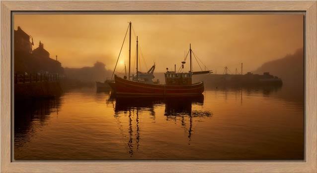Misty Mevagissy Harbour - Modern Print