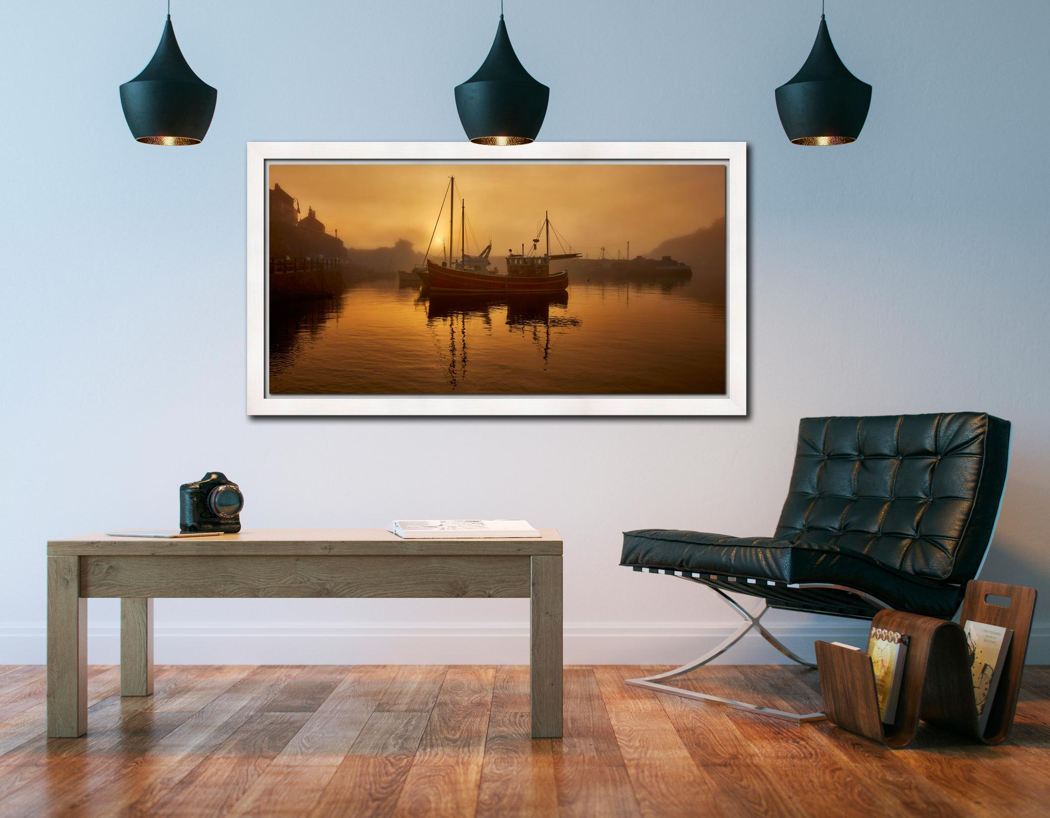 Misty Mevagissy Harbour - White Maple floater frame with acrylic glazing on Wall