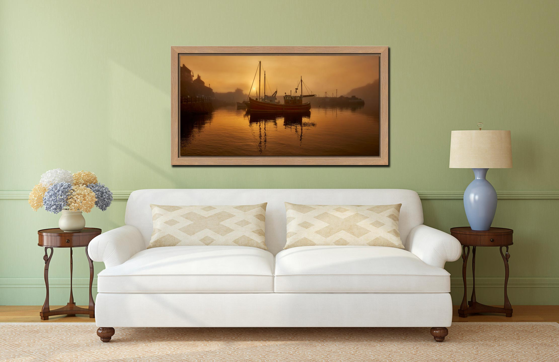 Misty Mevagissy Harbour - Oak floater frame with acrylic glazing on Wall