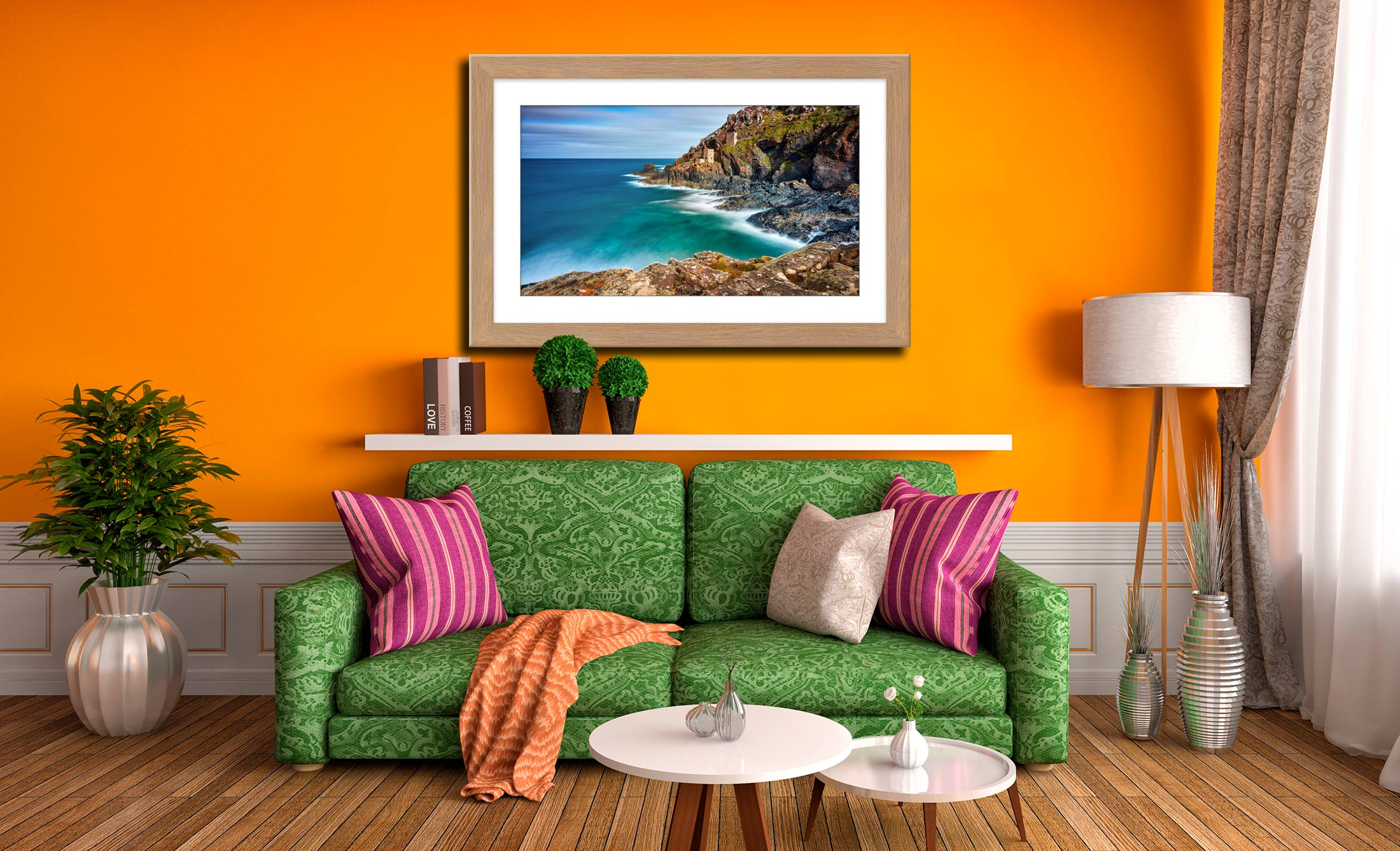 Green Ocean at Botallack - Framed Print with Mount on Wall