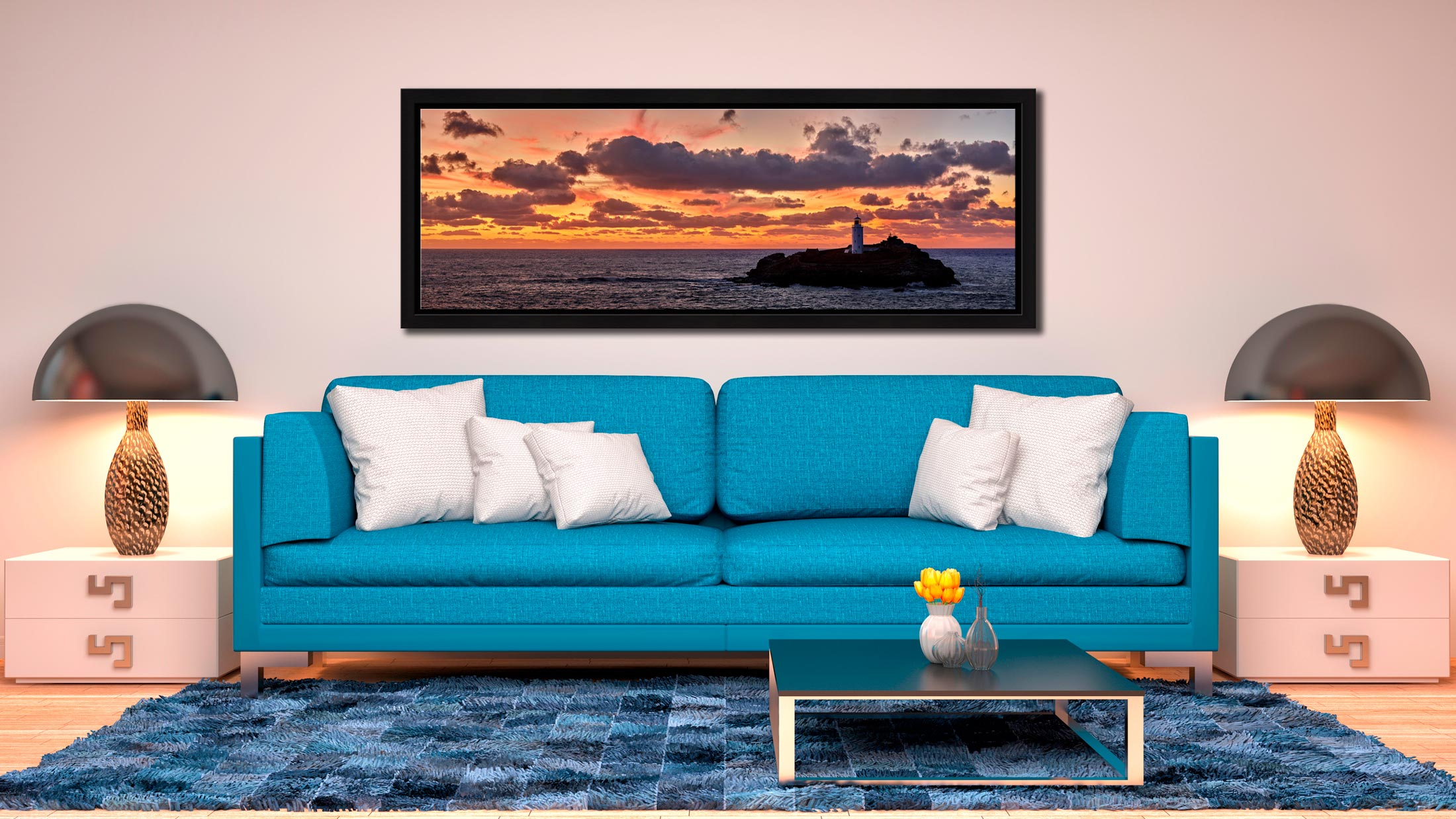 Colourful skies over St Ives bay and Godrevy Lighthouse after sunset - Black oak floater frame with acrylic glazing on Wall