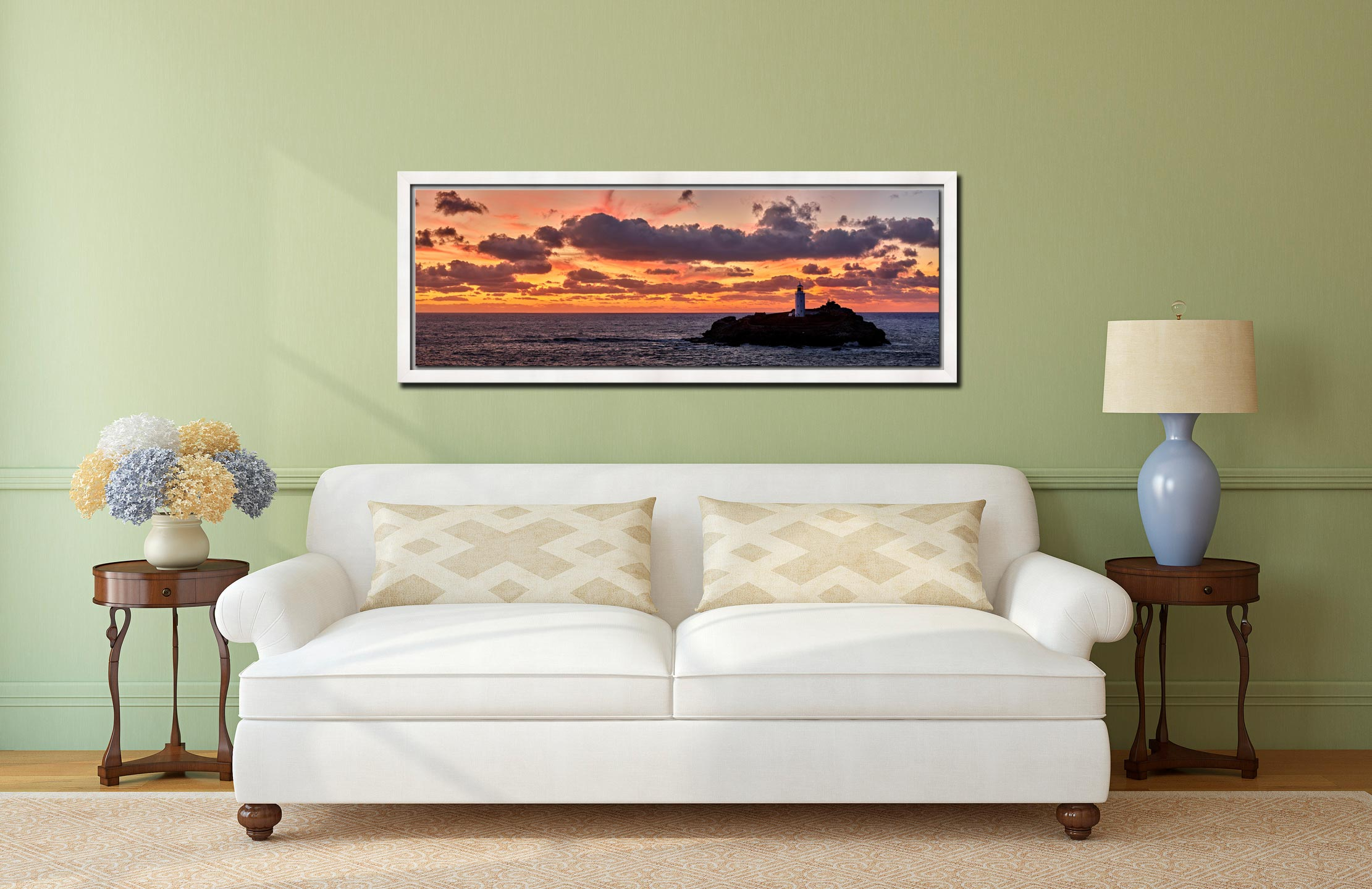 Colourful skies over St Ives bay and Godrevy Lighthouse after sunset - White Maple floater frame with acrylic glazing on Wall