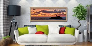 Colourful skies over St Ives bay and Godrevy Lighthouse after sunset - Oak floater frame with acrylic glazing on Wall