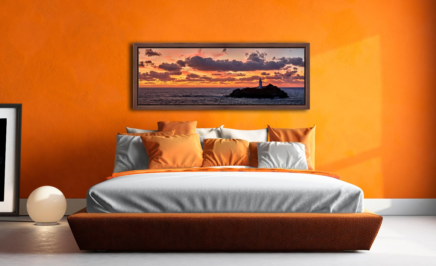 Colourful skies over St Ives bay and Godrevy Lighthouse after sunset - Walnut floater frame with acrylic glazing on Wall