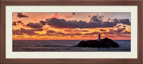 Godrevy Autumn Sunset - Framed Print with Mount