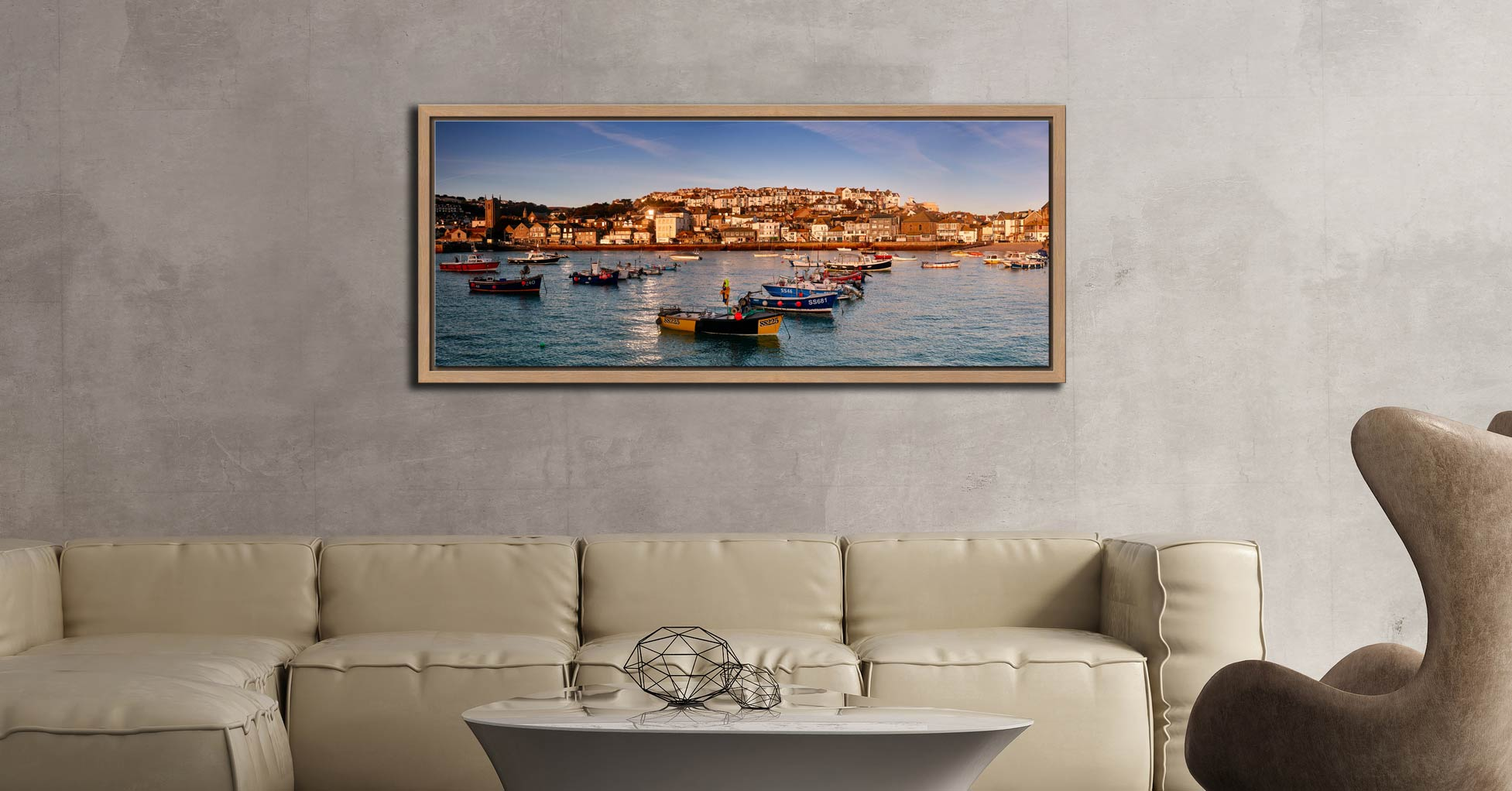 The early morning sunshine warms the boats and buildings of St Ives in Cornwall - Oak floater frame with acrylic glazing on Wall
