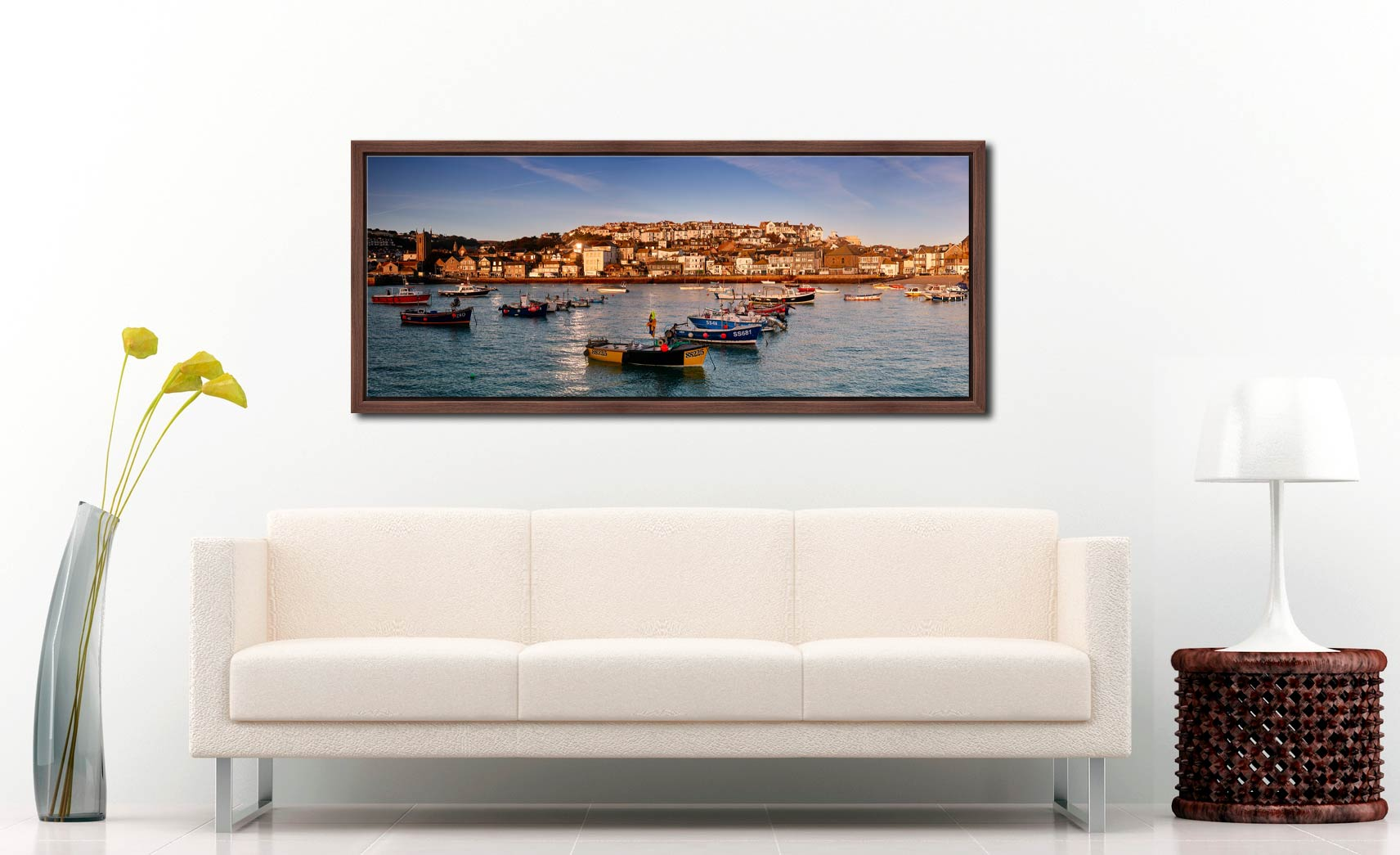 The early morning sunshine warms the boats and buildings of St Ives in Cornwall - Walnut floater frame with acrylic glazing on Wall