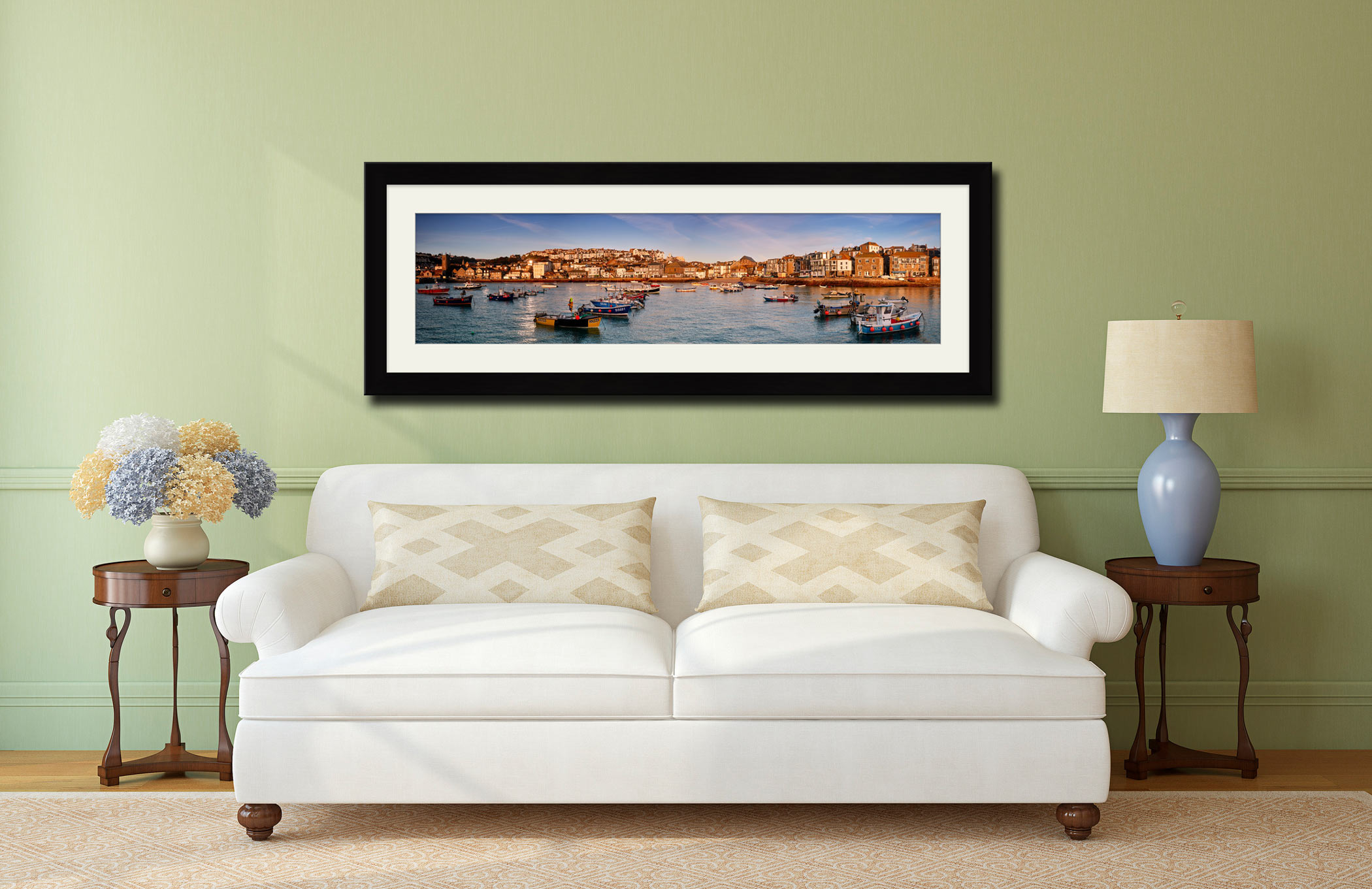 St Ives Harbour Morning Light - Framed Print with Mount on Wall
