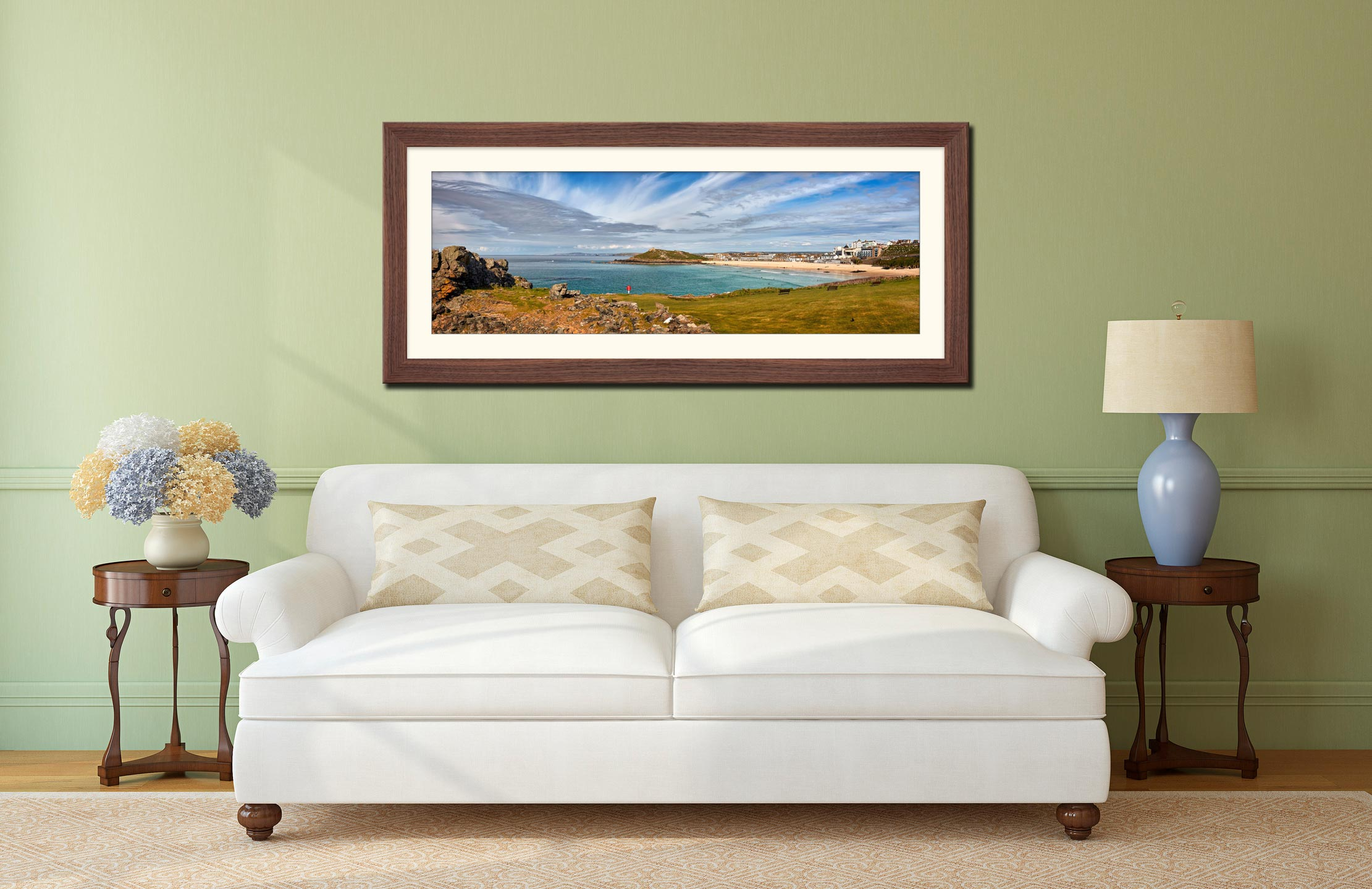 St Ives Bay Panorama - Framed Print with Mount on Wall