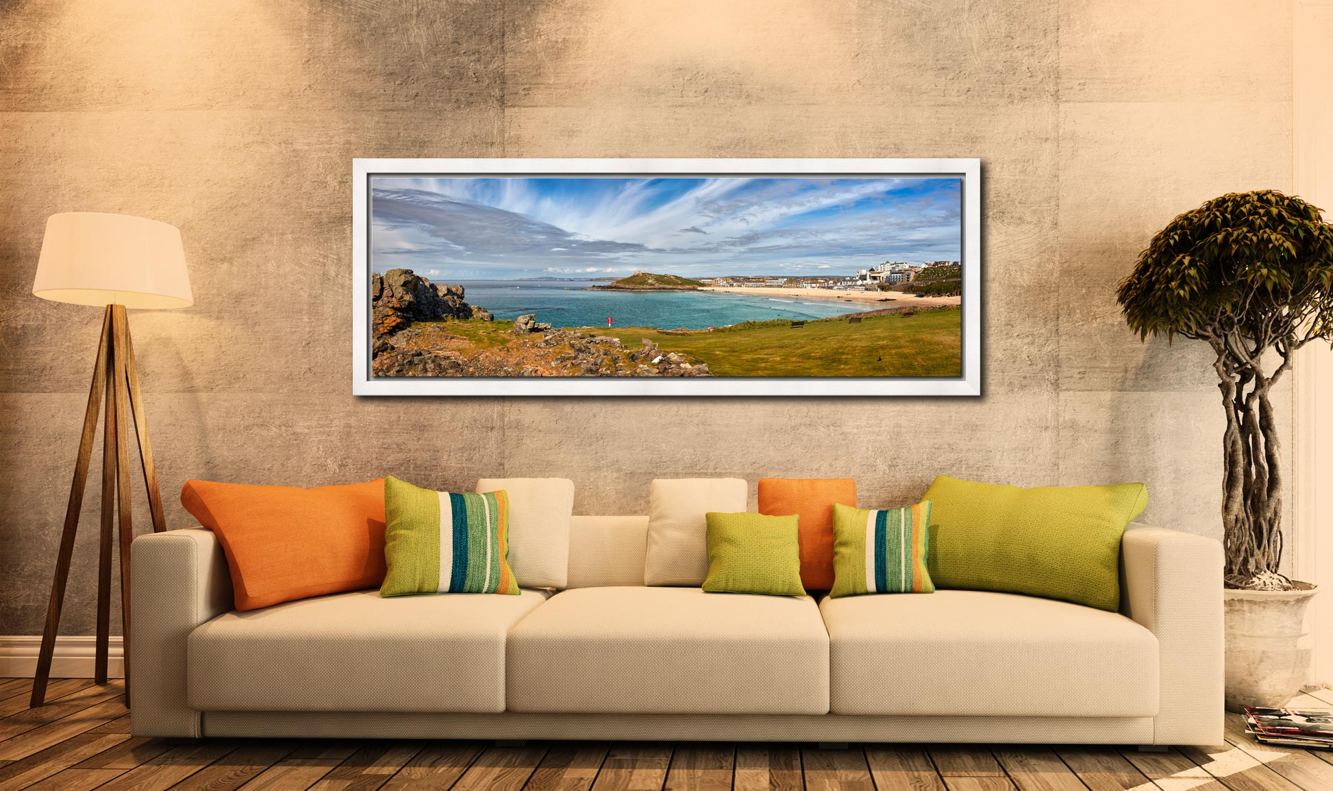 View of St Ives Bay from Mans Head. Left is Porthmeor beach, the Island and Chapel are centre - White Maple floater frame with acrylic glazing on Wall