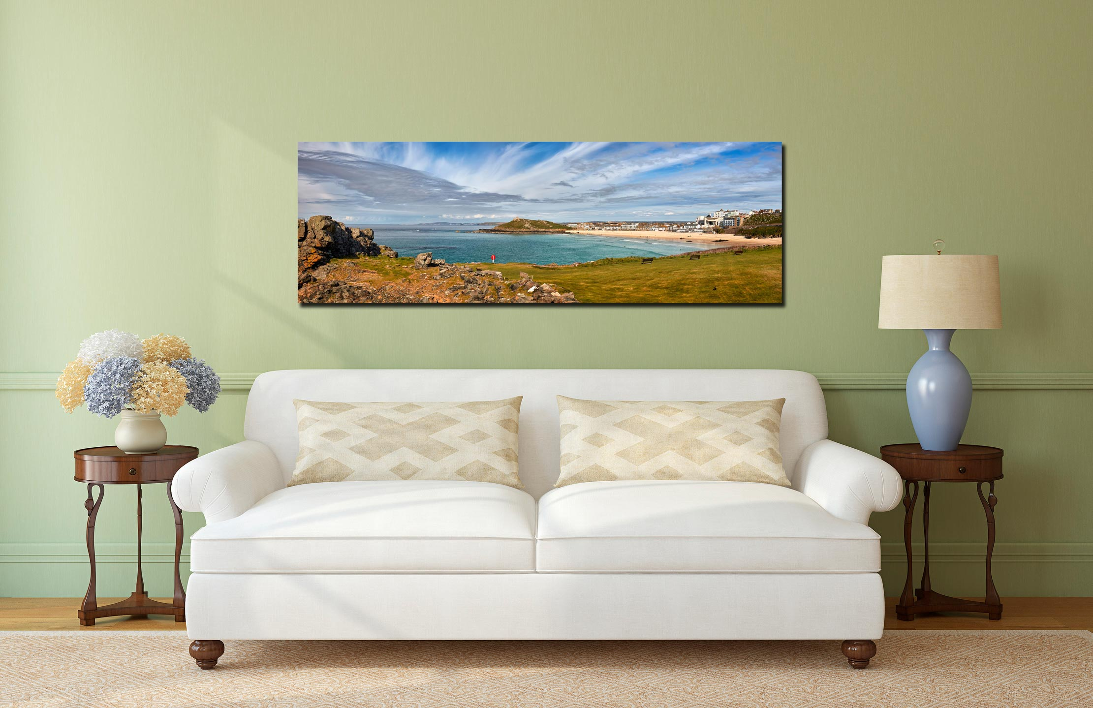 View of St Ives Bay from Mans Head. Left is Porthmeor beach, the Island and Chapel are centre - Print Aluminium Backing With Acrylic Glazing on Wall