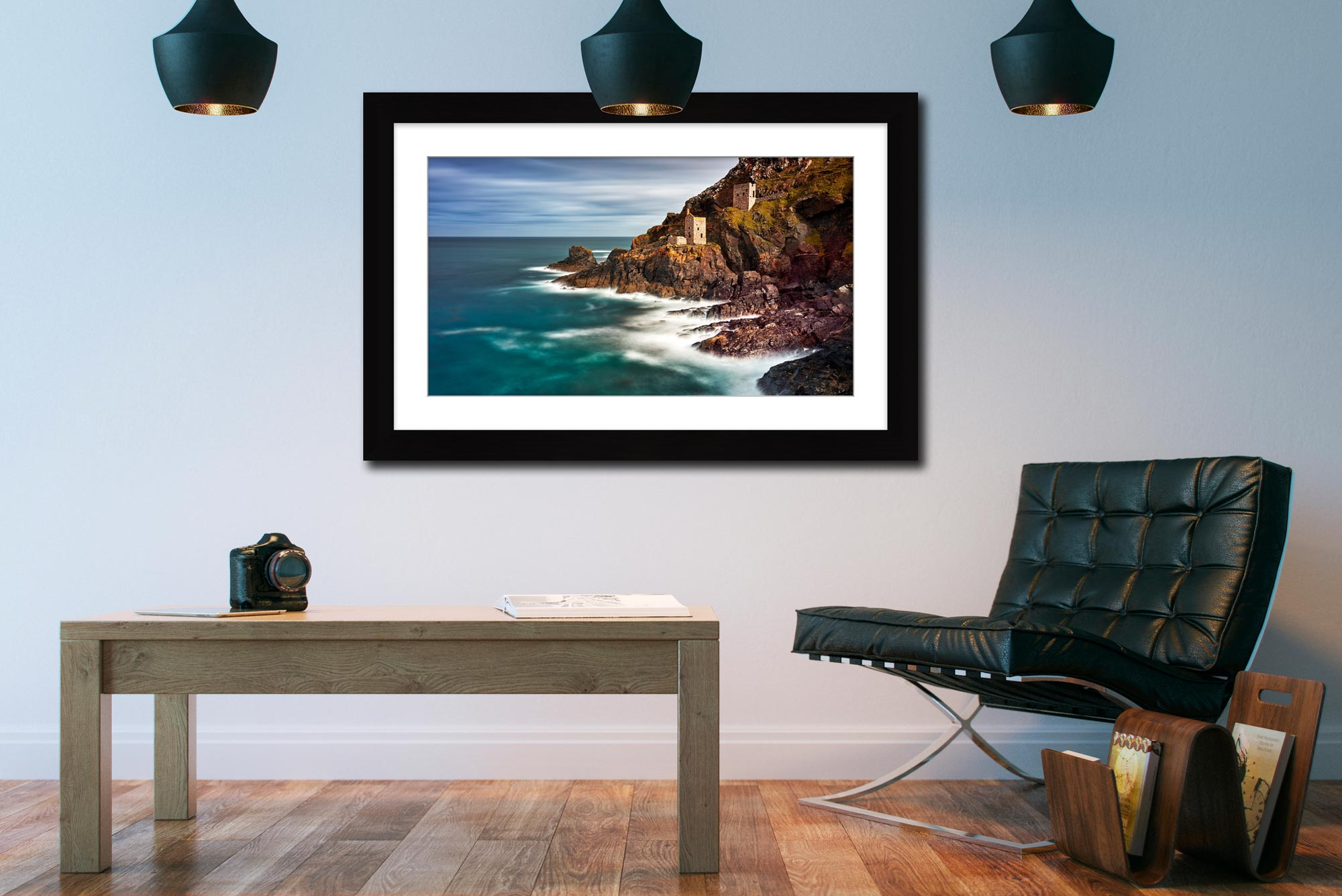 Botallack Mines in the Autumn Sunshine - Framed Print with Mount on Wall