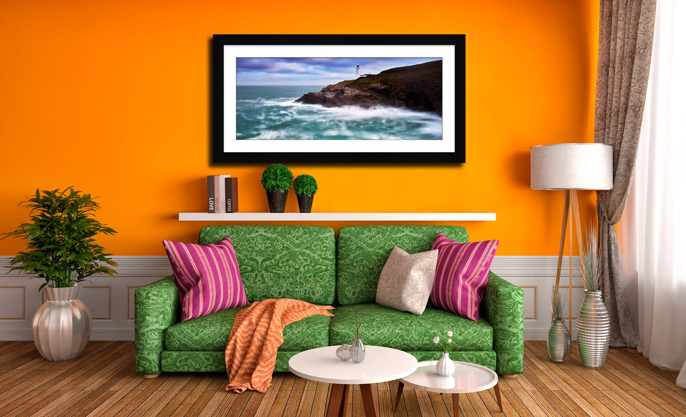 Stinking Cove and Trevose Head Lighthouse - Framed Print with Mount on Wall