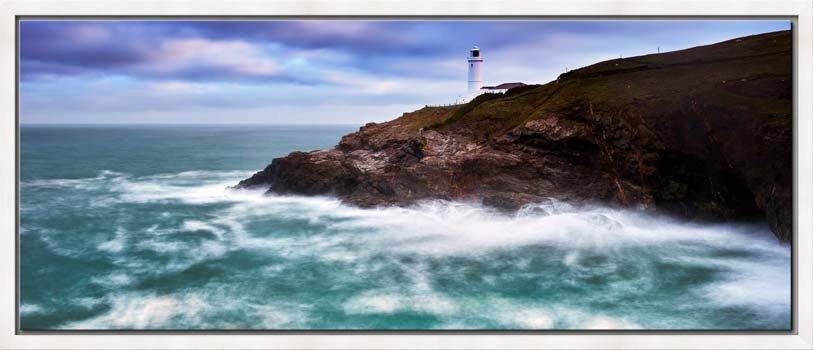 Trevose Head lighthouse and Stinking Cove on a blustery autumn morning on the North Cornish coast