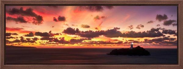 Godrevy Golden Sunset Panorama - Modern Print