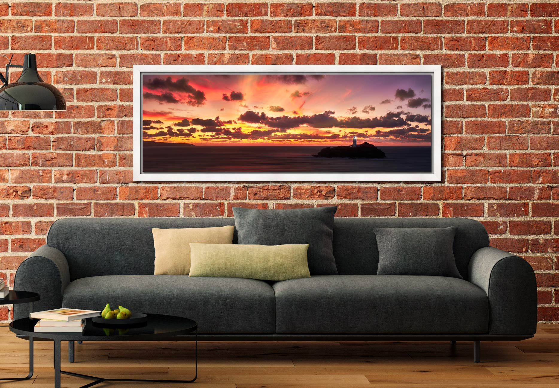 Epic skies over Godrevy Lighthouse and St Ives Bay on the North Coast of Cornwall - White Maple floater frame with acrylic glazing on Wall
