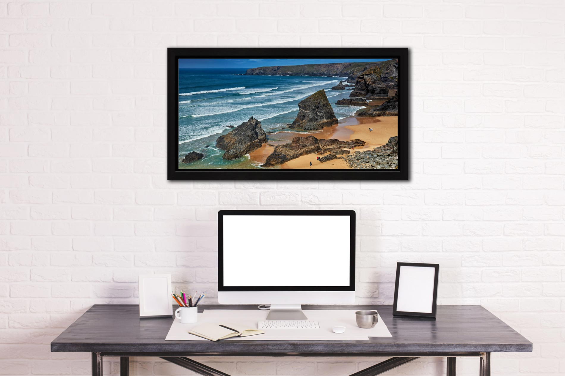 Bedruthan Steps Beach Rocks - Black oak floater frame with acrylic glazing on Wall