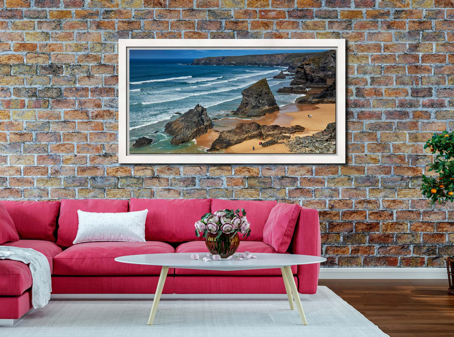 Bedruthan Steps Beach Rocks - White Maple floater frame with acrylic glazing on Wall