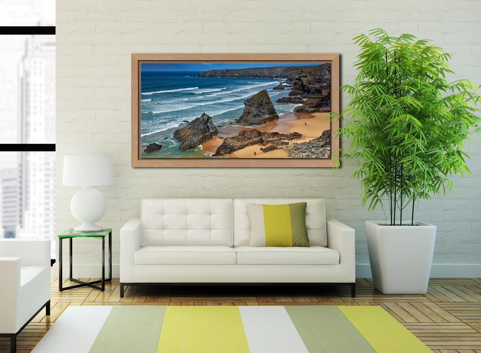 Bedruthan Steps Beach Rocks - Oak floater frame with acrylic glazing on Wall