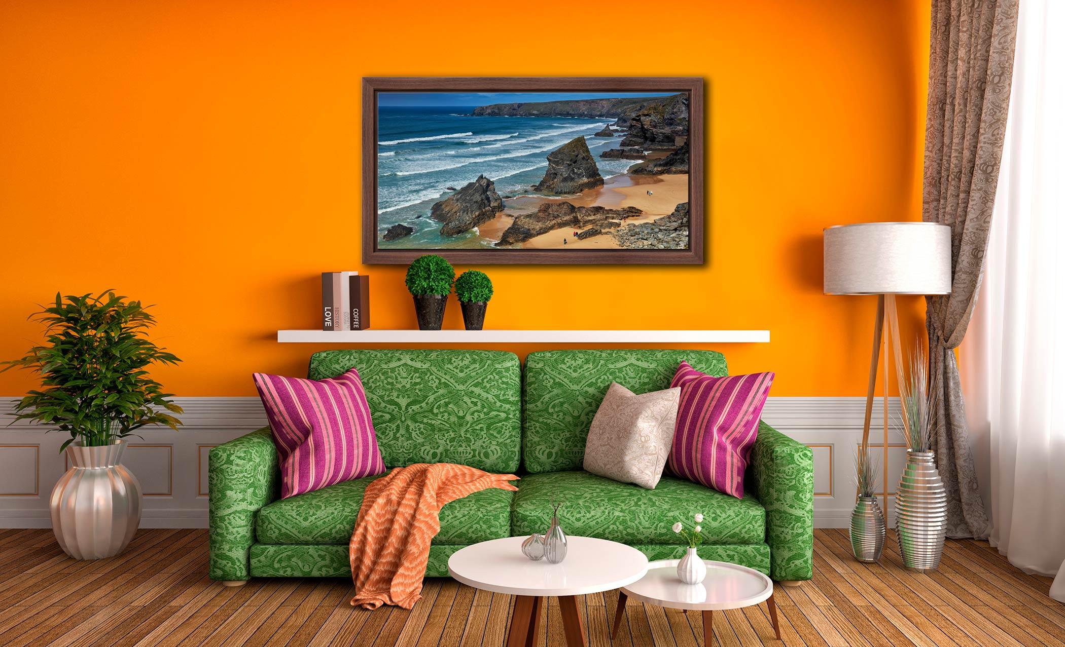 Bedruthan Steps Beach Rocks - Walnut floater frame with acrylic glazing on Wall
