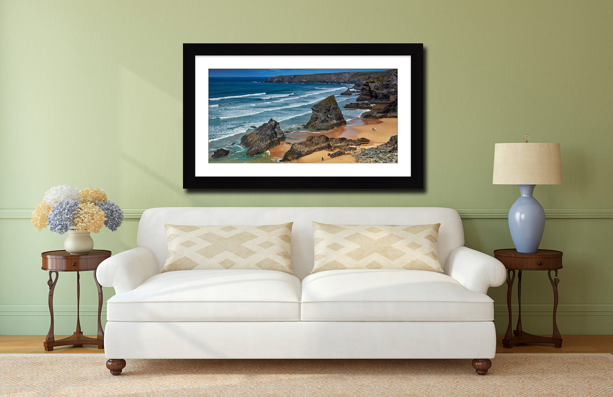 Bedruthan Steps Beach Rocks - Framed Print with Mount on Wall
