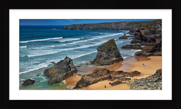 Bedruthan Steps Beach Rocks - Framed Print with Mount