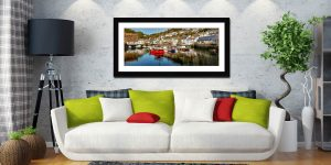 Polperro Harbour - Framed Print with Mount on Wall