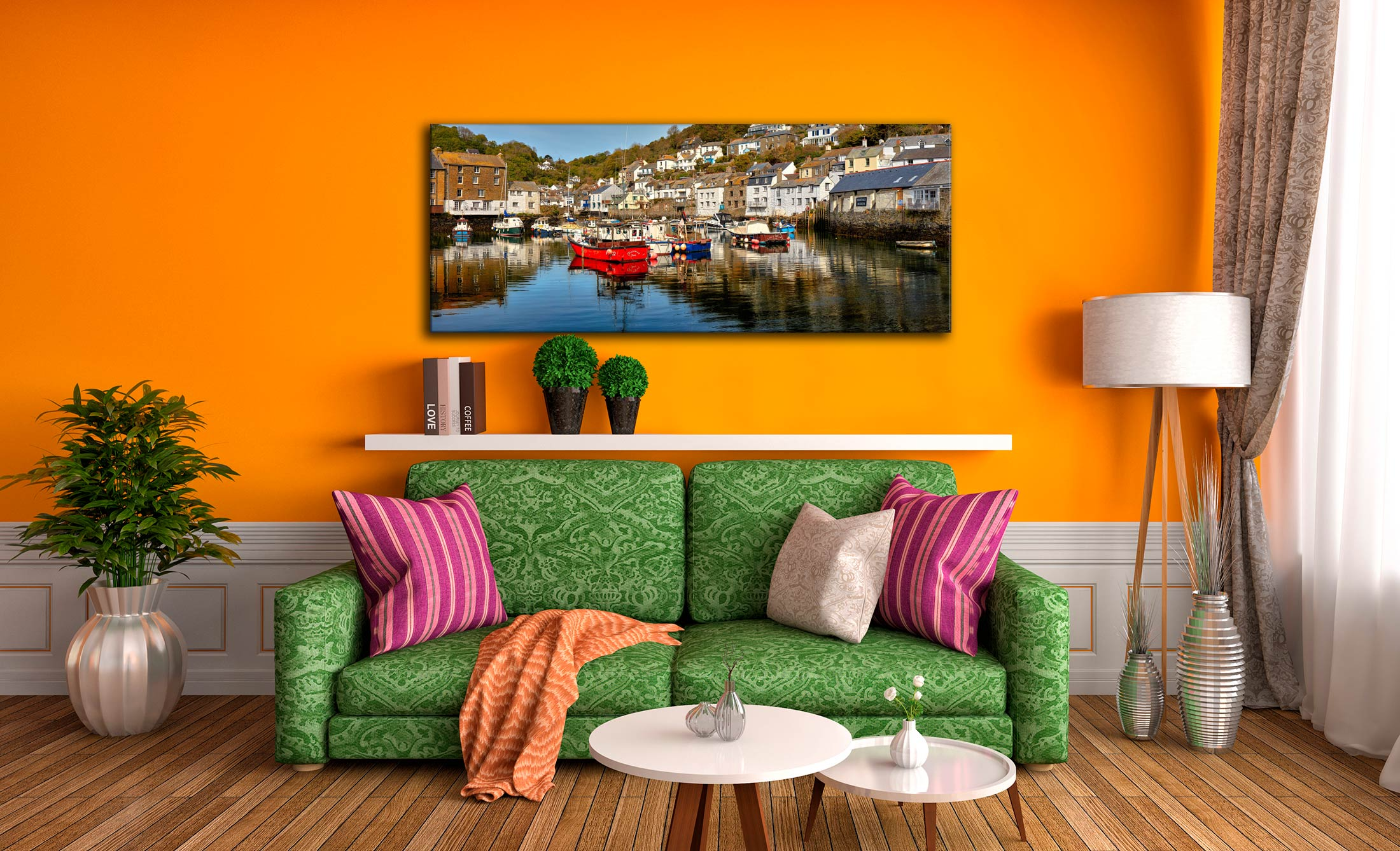 A calm morning at Polperro Harbour on the South coast of Cornwall - Print Aluminium Backing With Acrylic Glazing on Wall