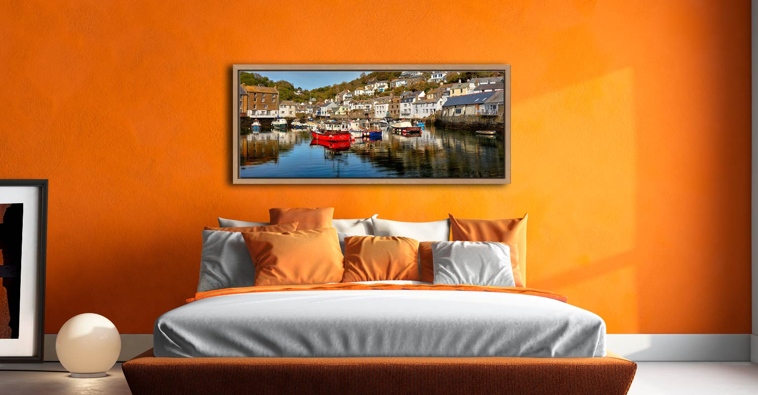 A calm morning at Polperro Harbour on the South coast of Cornwall - Oak floater frame with acrylic glazing on Wall