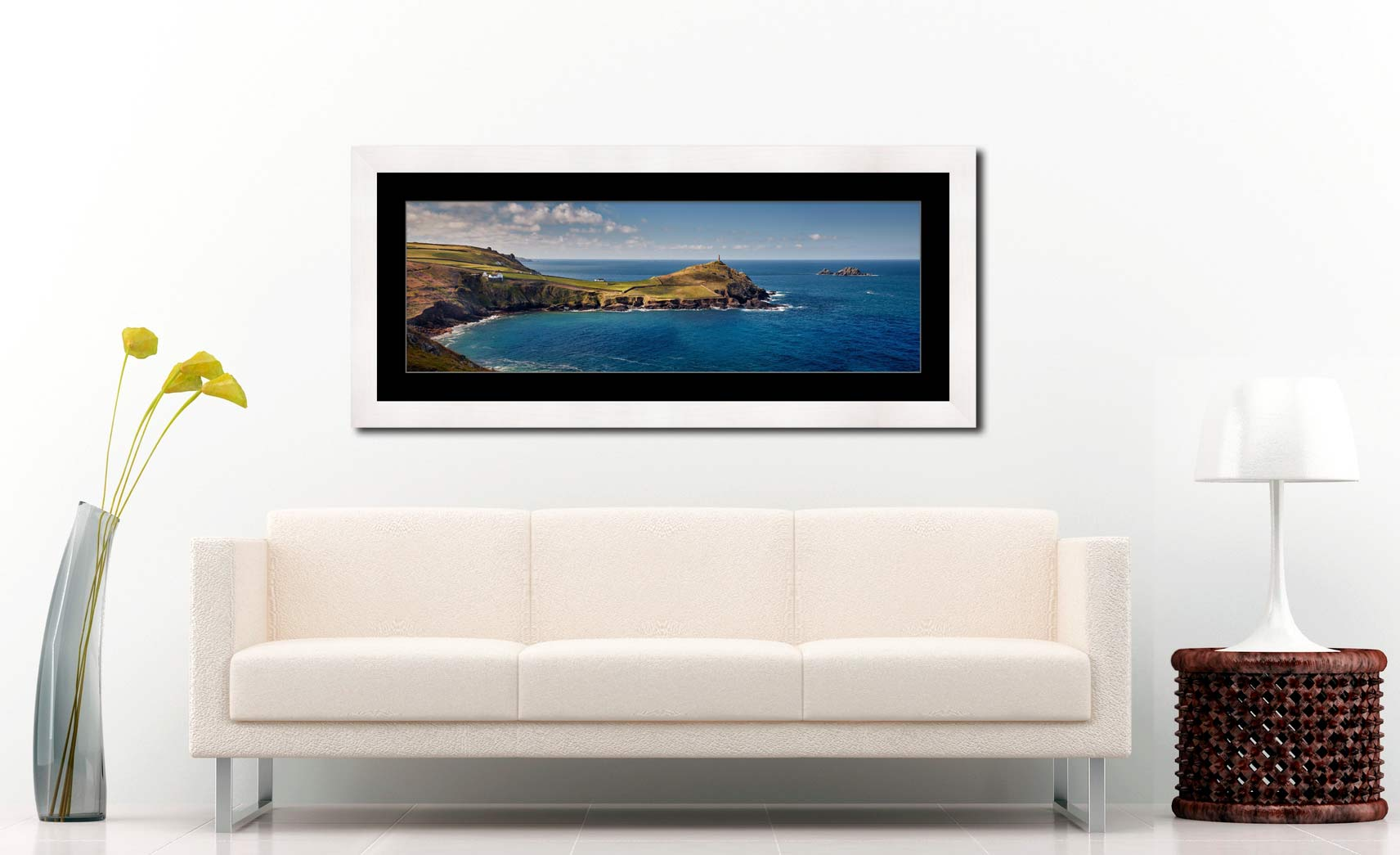 Cape Cornwall - Framed Print with Mount on Wall
