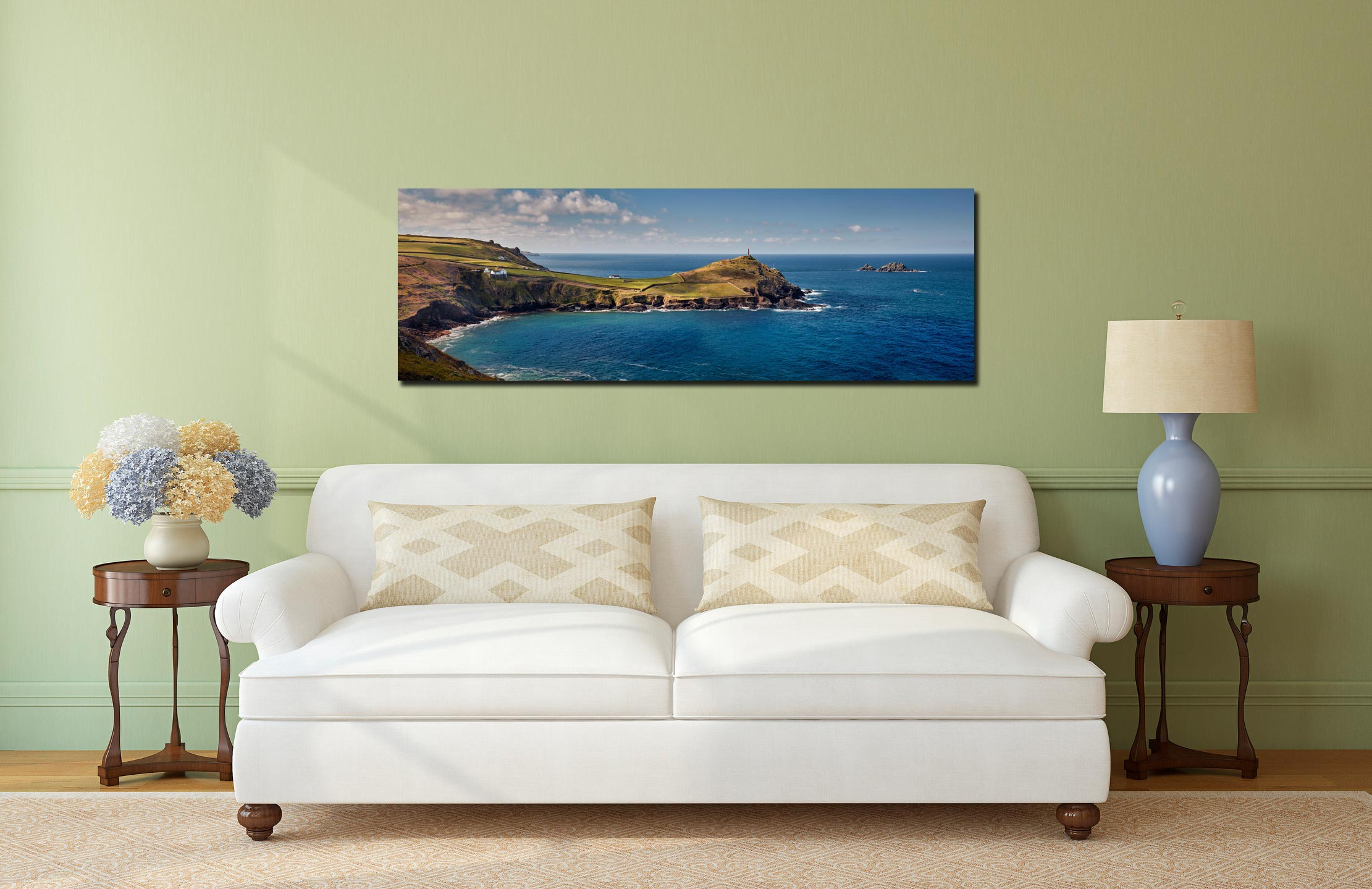 Cape Cornwall in the golden sunlight of a Spring morning - Print Aluminium Backing With Acrylic Glazing on Wall