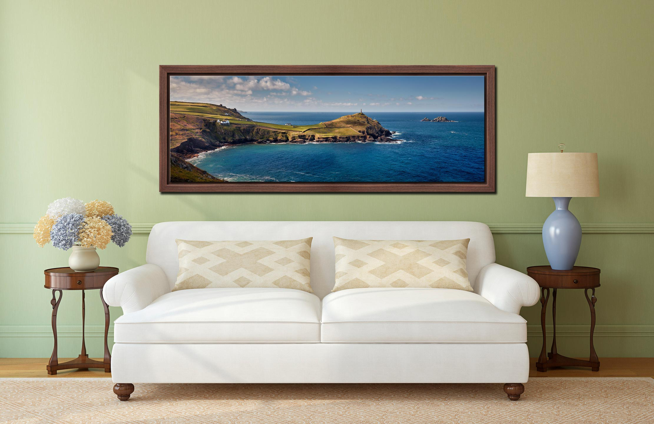Cape Cornwall in the golden sunlight of a Spring morning - Walnut floater frame with acrylic glazing on Wall