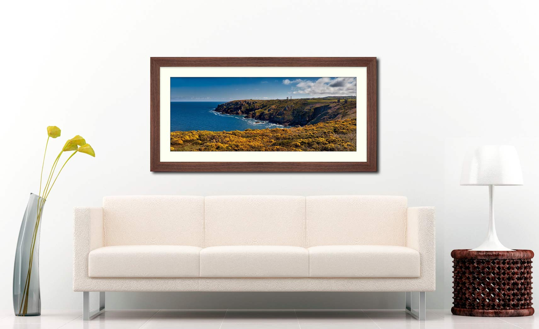 Botallack Mines Yellow Gorse - Framed Print with Mount on Wall