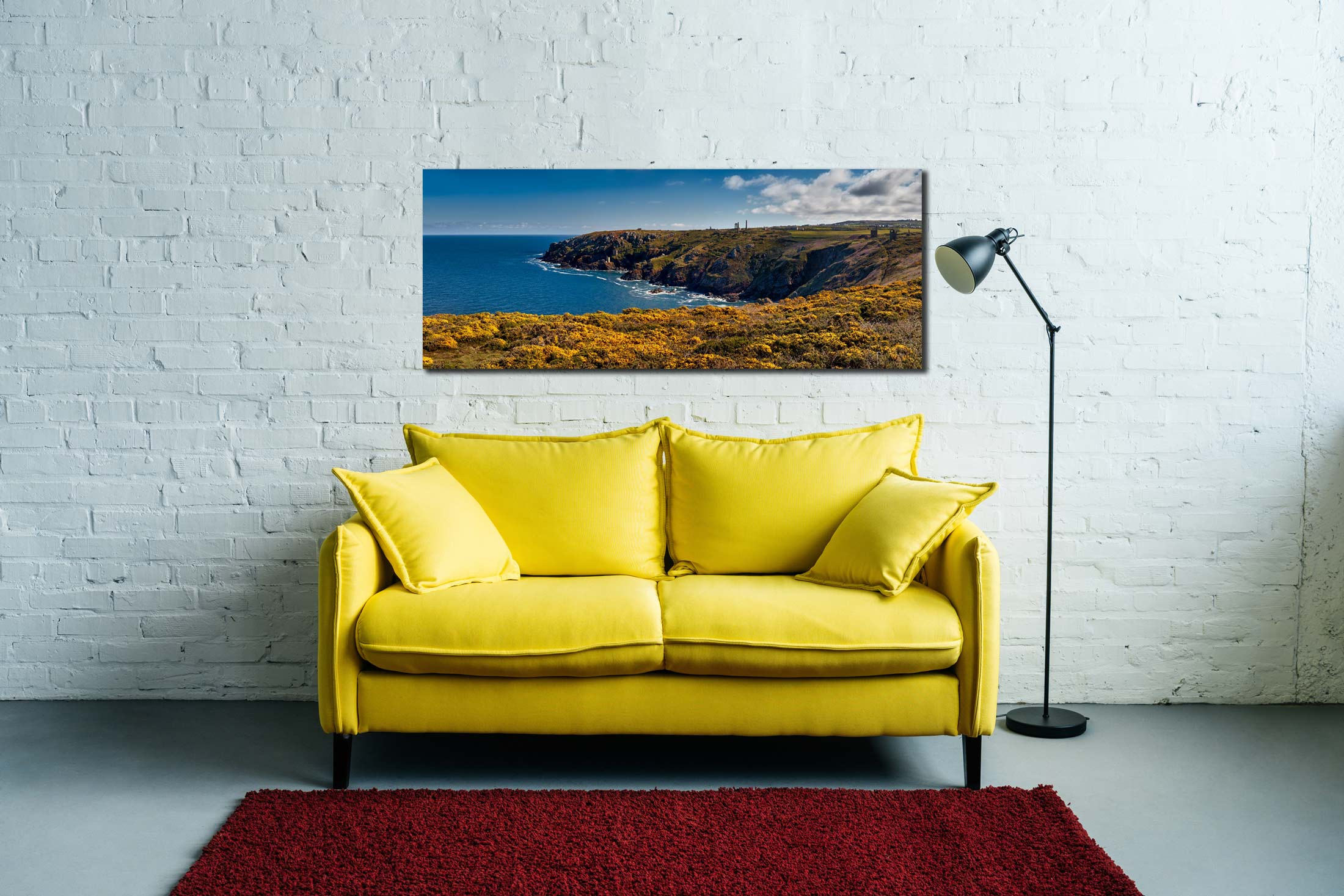 View over the coastal yellow Gorse to the mine ruins on the cliffs at Botallack - Print Aluminium Backing With Acrylic Glazing on Wall