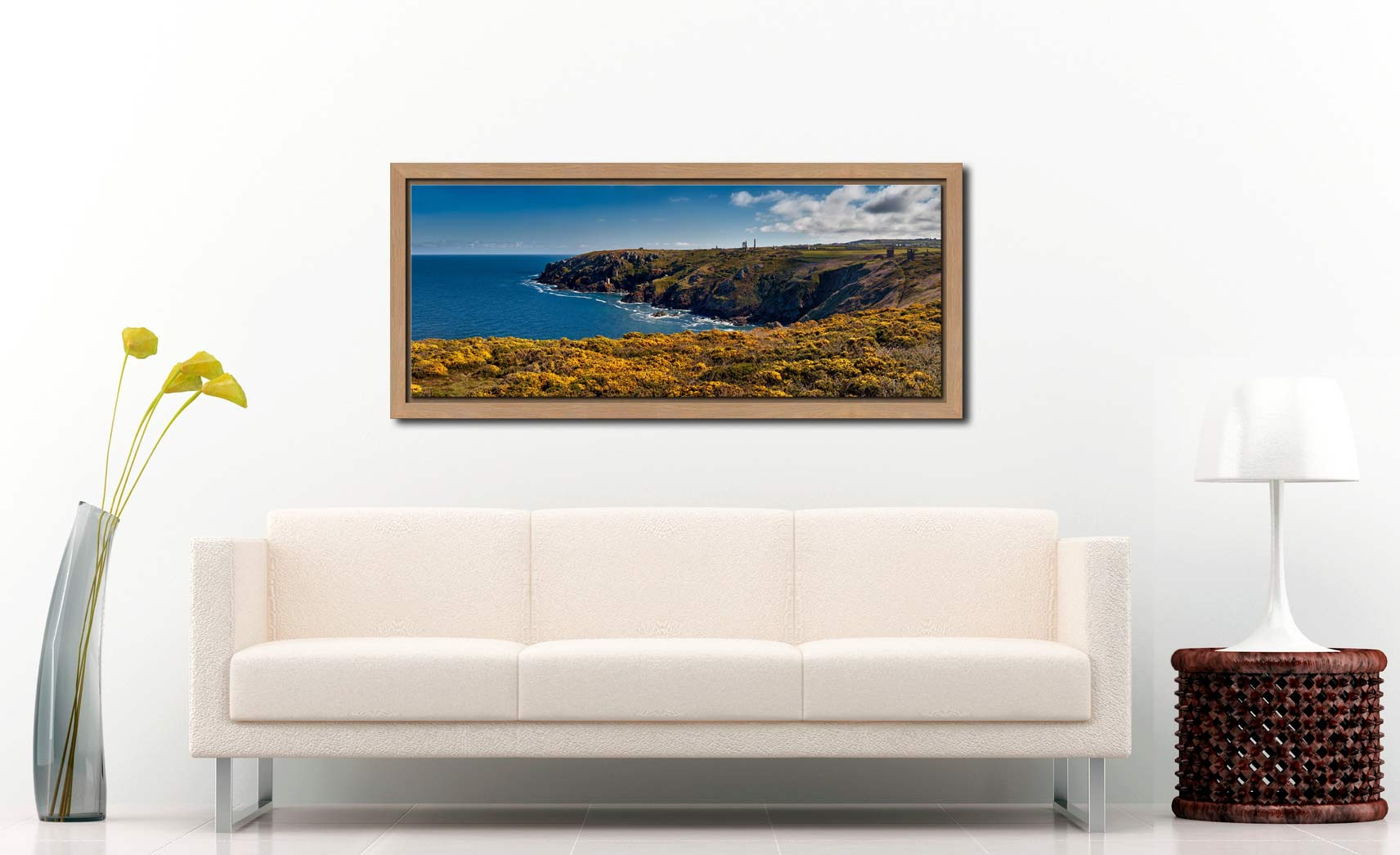 View over the coastal yellow Gorse to the mine ruins on the cliffs at Botallack - Oak floater frame with acrylic glazing on Wall