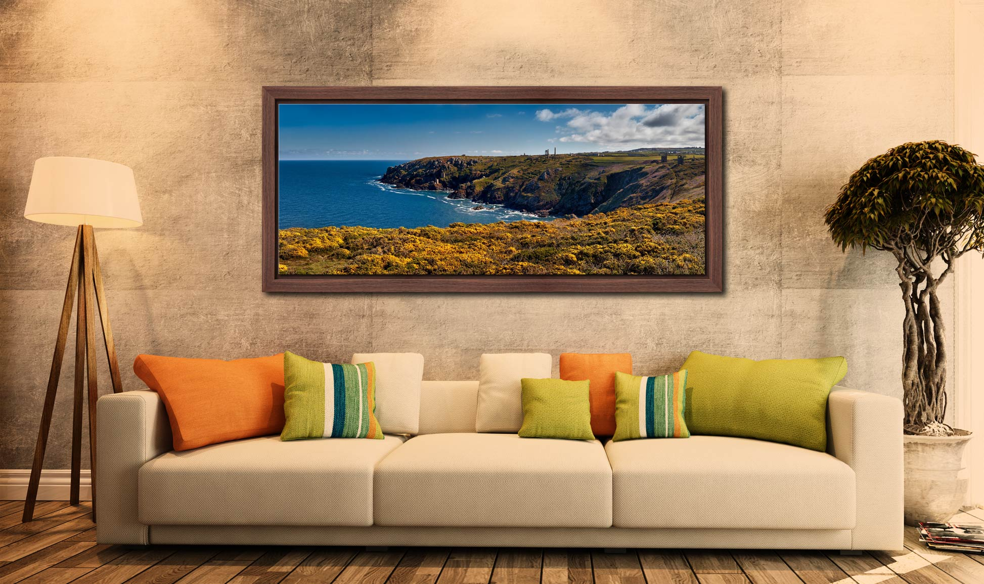 View over the coastal yellow Gorse to the mine ruins on the cliffs at Botallack - Walnut floater frame with acrylic glazing on Wall