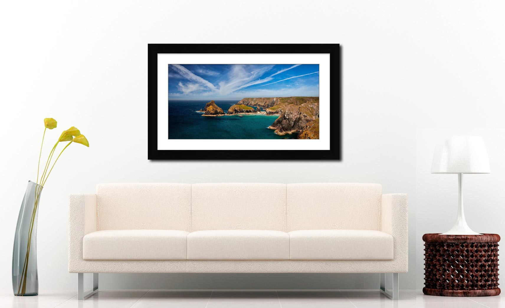 Green Ocean Kynance Cove - Framed Print with Mount on Wall