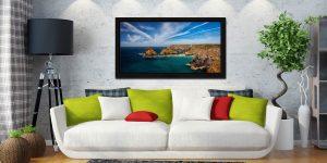 Green Ocean Kynance Cove - Black oak floater frame with acrylic glazing on Wall