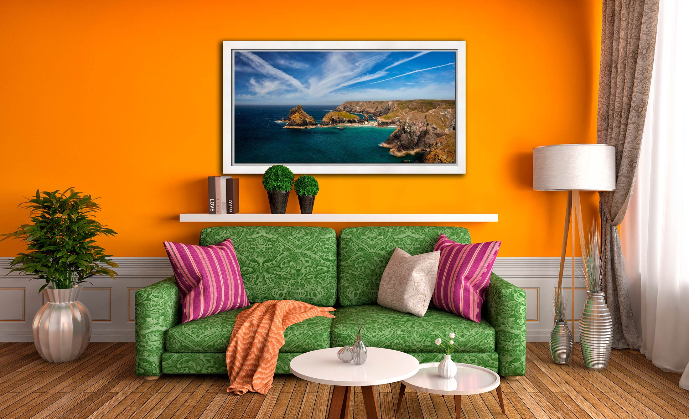 Green Ocean Kynance Cove - White Maple floater frame with acrylic glazing on Wall