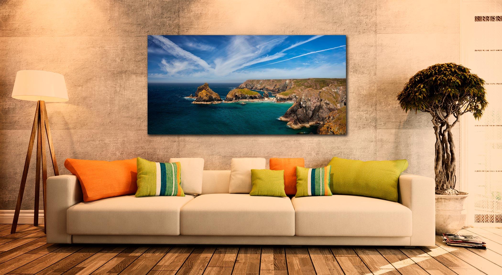 Green Ocean Kynance Cove - Print Aluminium Backing With Acrylic Glazing on Wall
