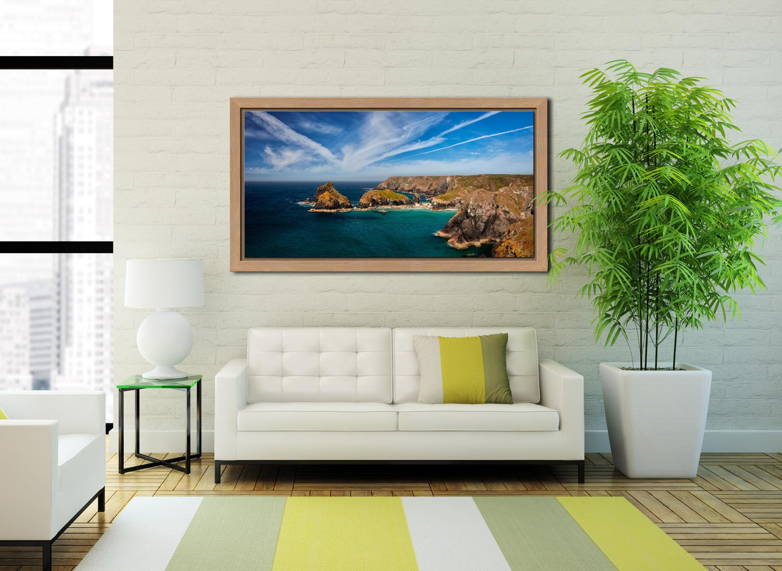 Green Ocean Kynance Cove - Oak floater frame with acrylic glazing on Wall