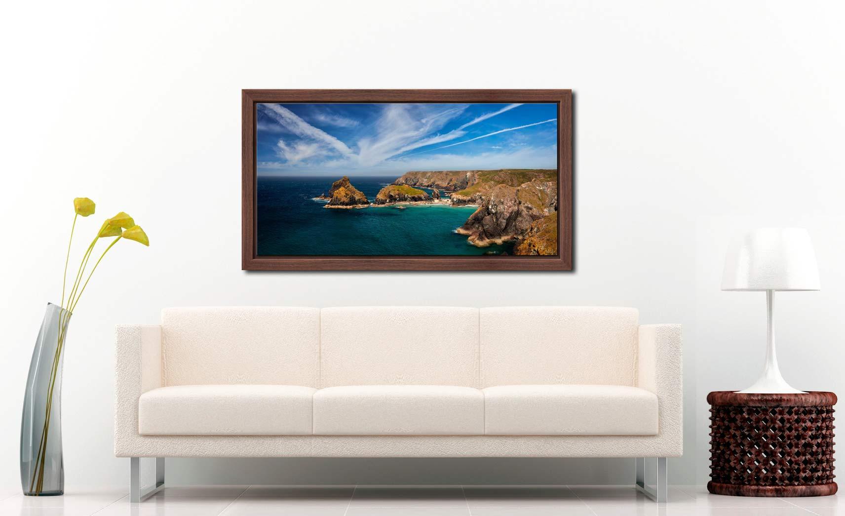 Green Ocean Kynance Cove - Walnut floater frame with acrylic glazing on Wall