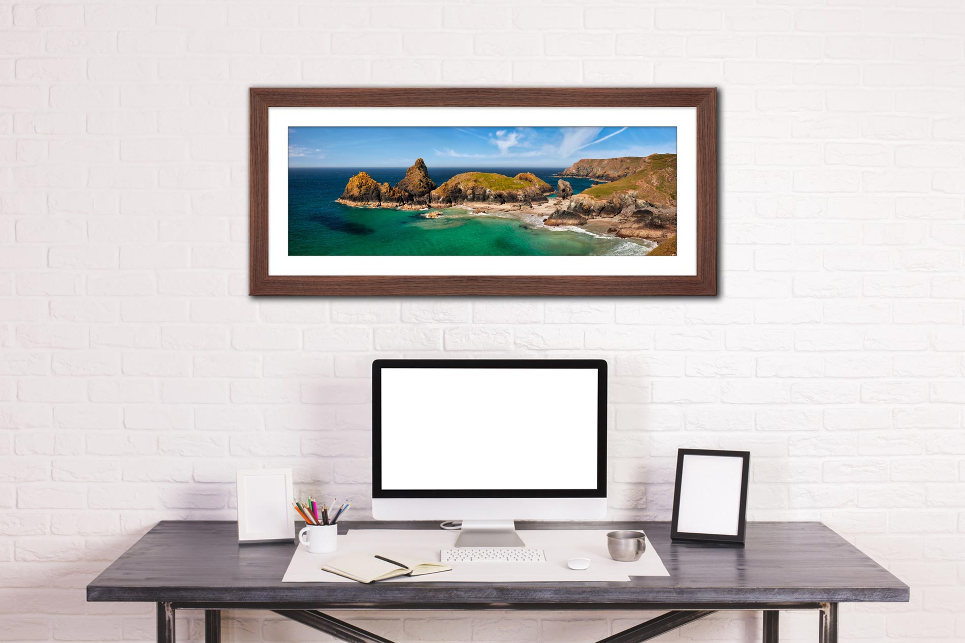 Asparagus Island at Kynance Cove - Framed Print with Mount on Wall