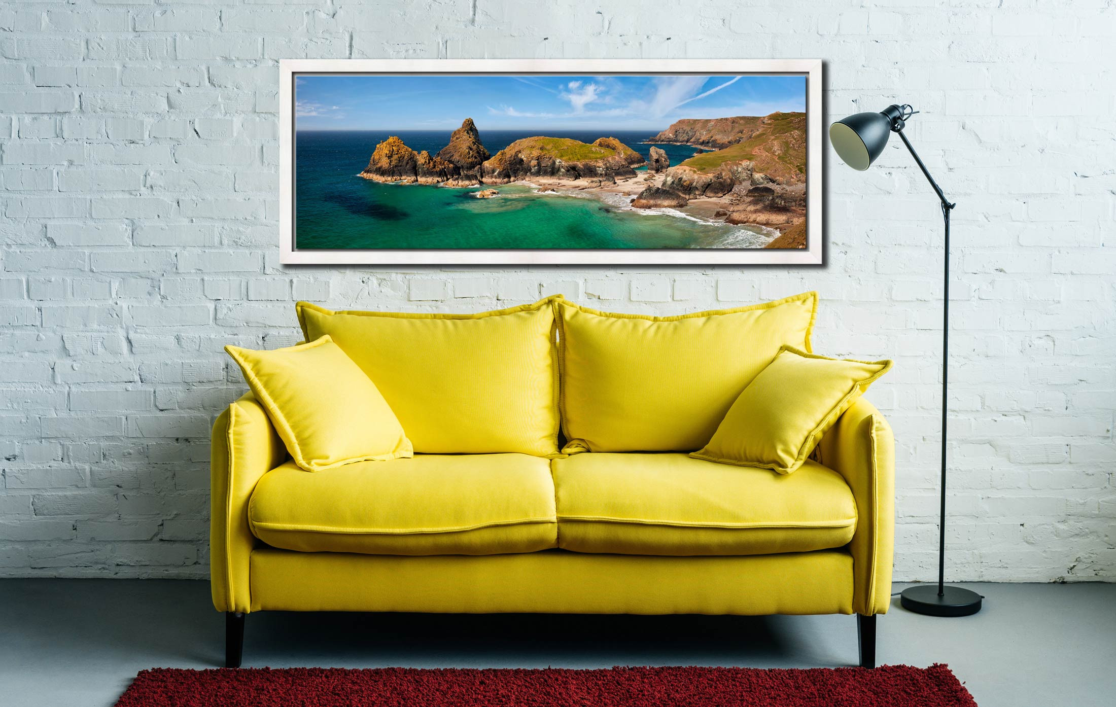 The tropical waters of Kynance Cove on the Lizard. The islands of The Bishop, Gull Rock and Asparagus Island - White Maple floater frame with acrylic glazing on Wall