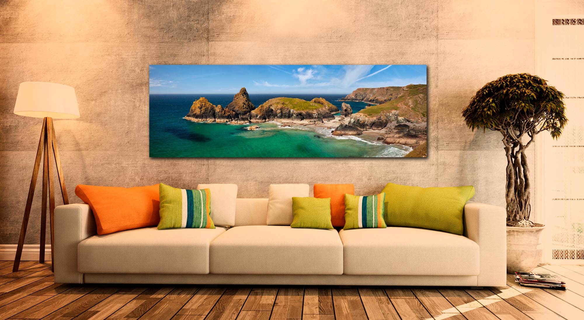 The tropical waters of Kynance Cove on the Lizard. The islands of The Bishop, Gull Rock and Asparagus Island - Print Aluminium Backing With Acrylic Glazing on Wall