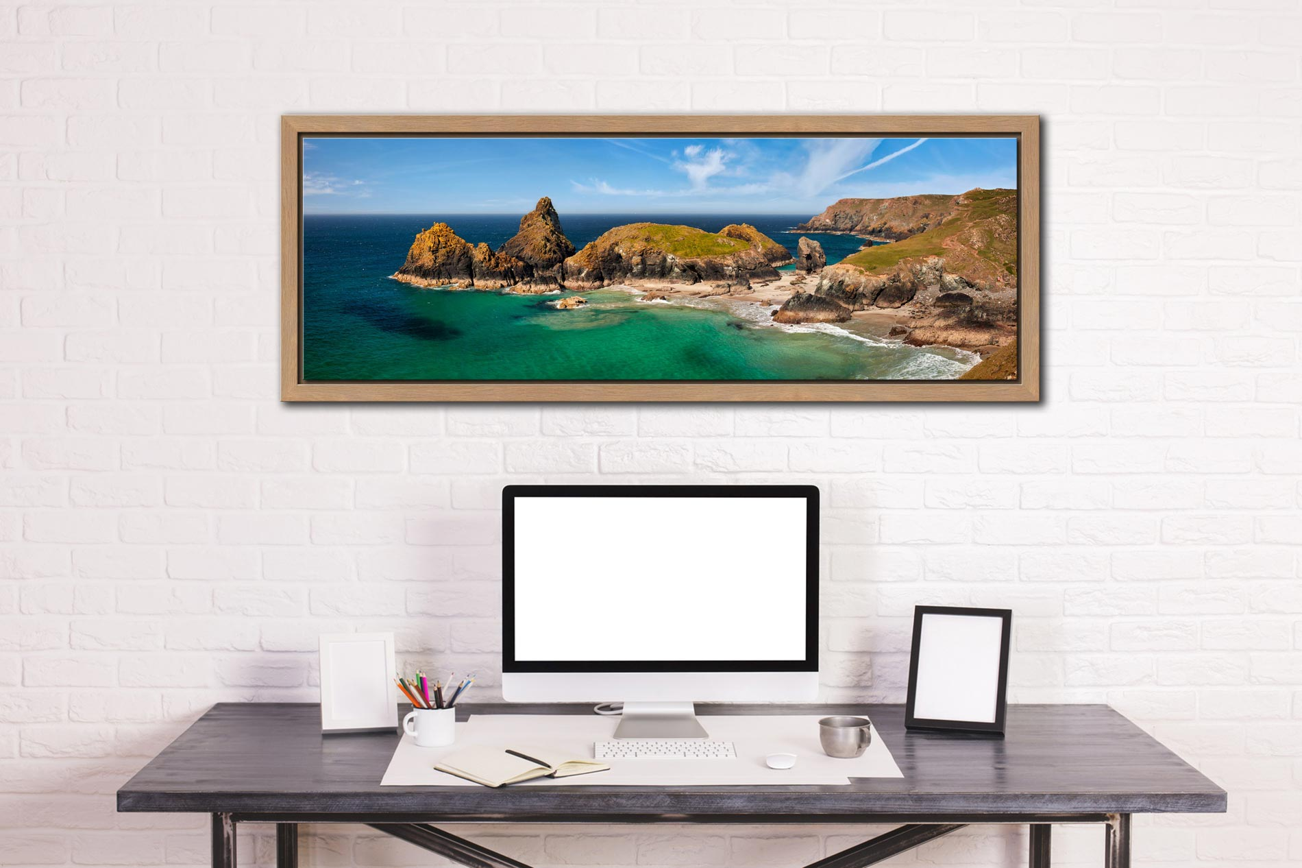 The tropical waters of Kynance Cove on the Lizard. The islands of The Bishop, Gull Rock and Asparagus Island - Oak floater frame with acrylic glazing on Wall