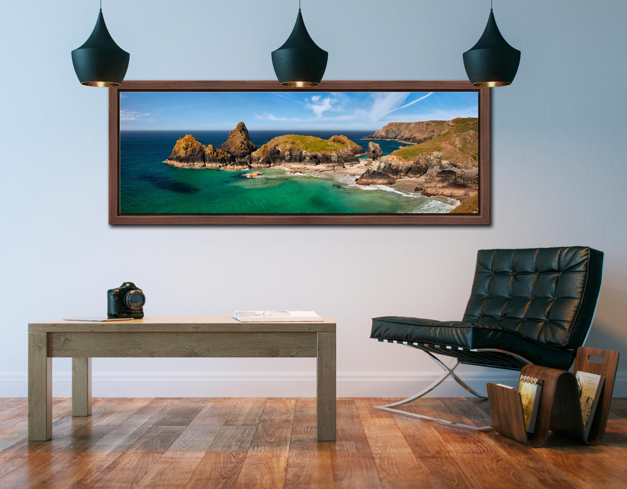 The tropical waters of Kynance Cove on the Lizard. The islands of The Bishop, Gull Rock and Asparagus Island - Walnut floater frame with acrylic glazing on Wall